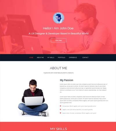 Bootstrap Resume Template Free Bootstrap E Page Template