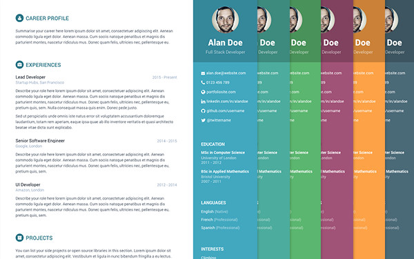Free Bootstrap Resume CV Template for Developers Orbit