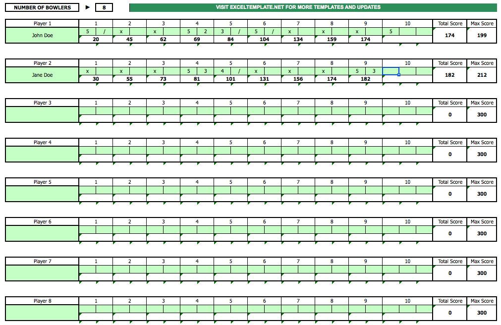 Bowling Score Sheet Excel Bowling Score Sheet Exceltemplate