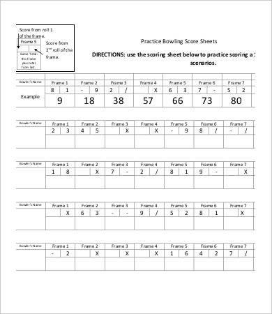 Bowling Score Sheet Excel Bowling Score Sheet Templates 8 Free Word Pdf Excel