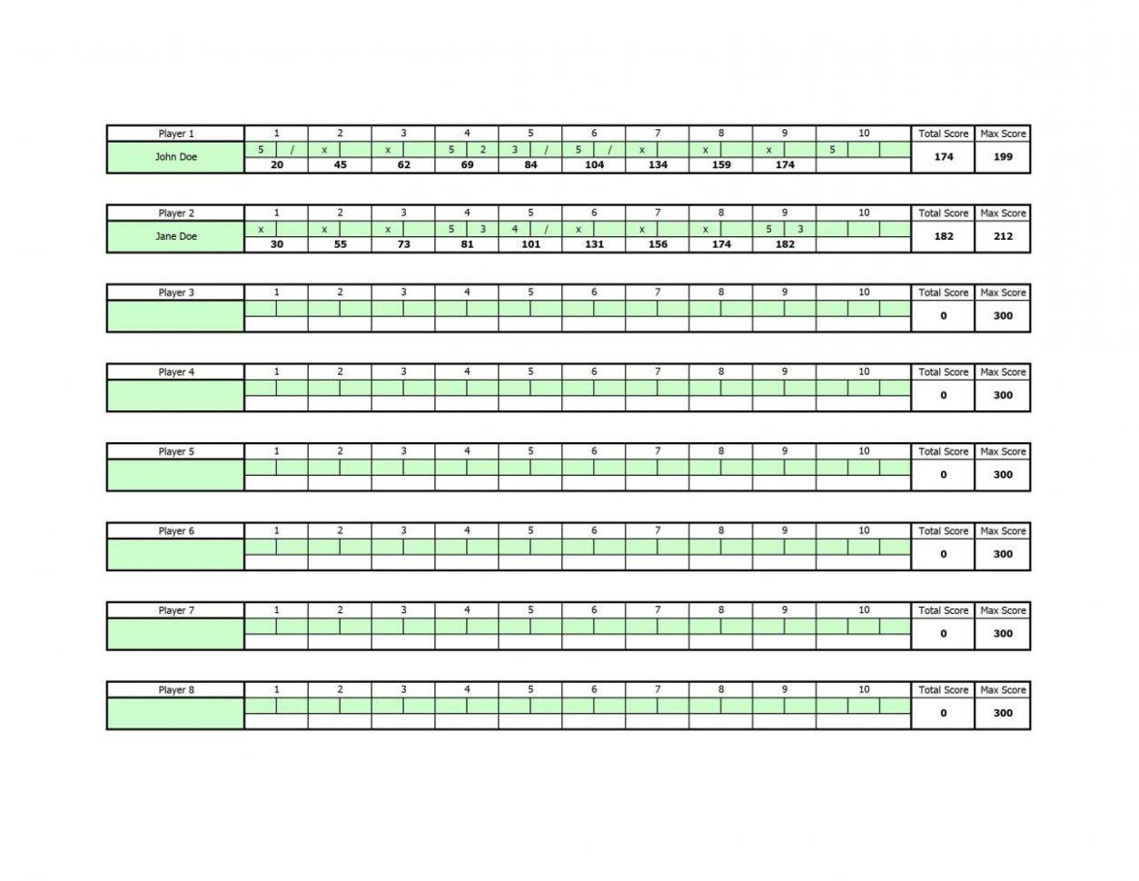 Bowling Score Sheet Excel Bowling Stats Spreadsheet Printable Spreadshee Bowling