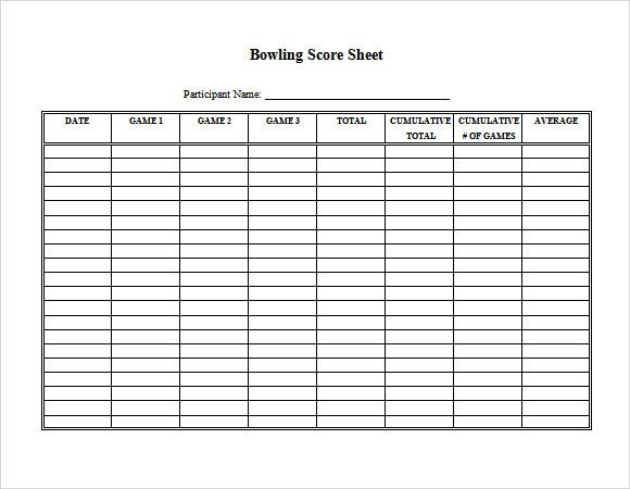 Bowling Score Sheet Excel Download Free software Free Program Layout Templates