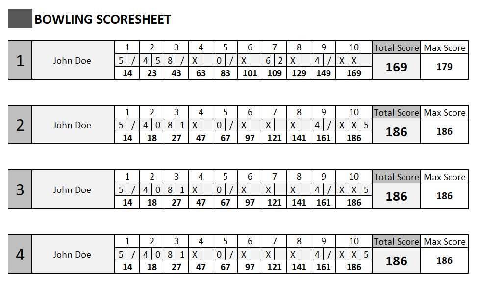 Bowling Score Sheet Excel Excel Templates Excel Spreadsheets
