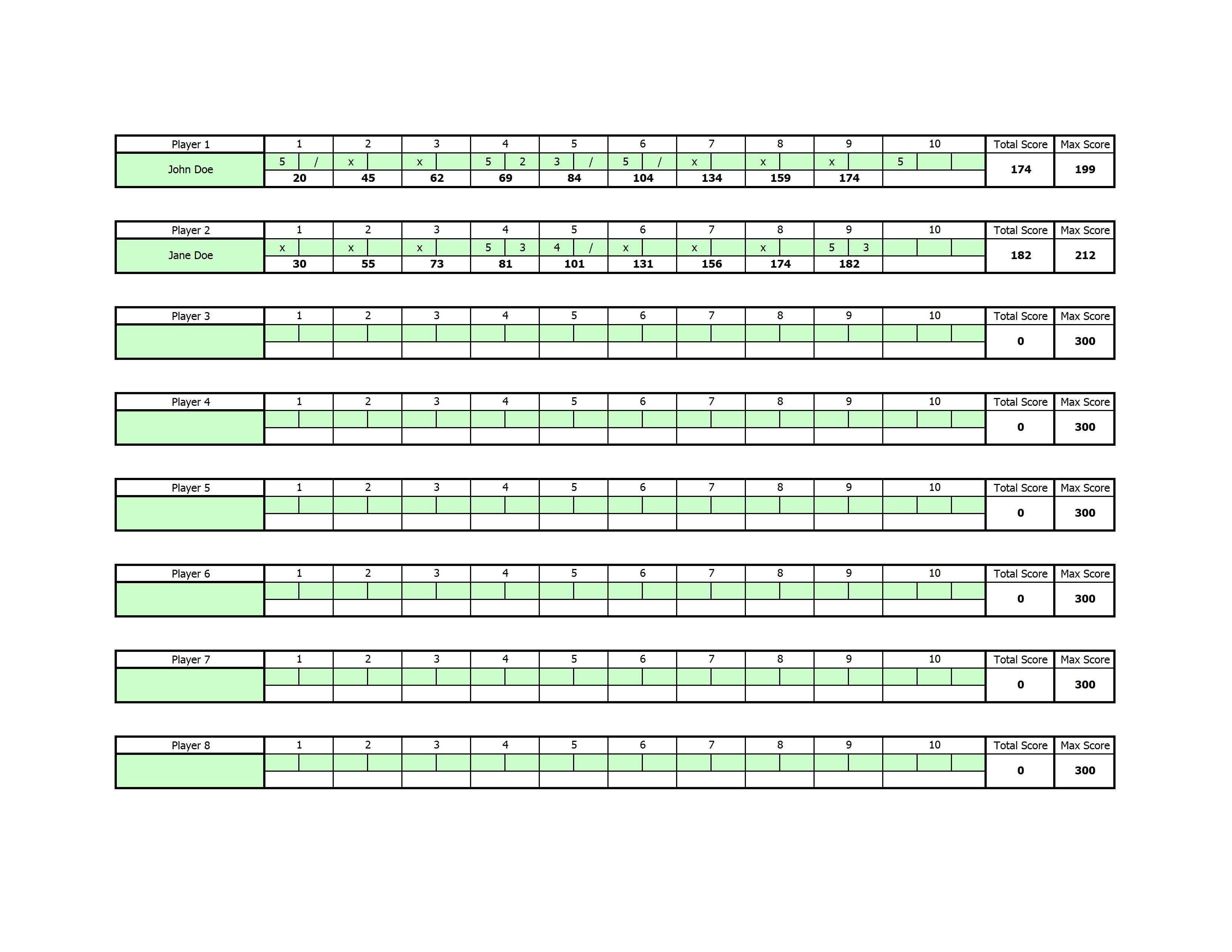 Bowling Score Sheet Excel Free Bowling Score Sheet Template