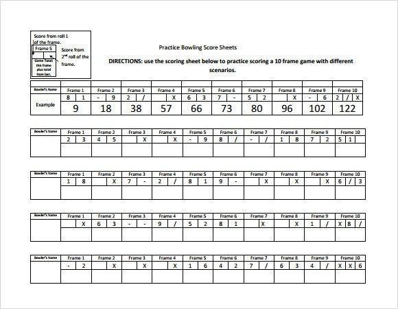 Bowling Score Sheet Excel Sample Bowling Score Sheet 10 Documents In Pdf Psd