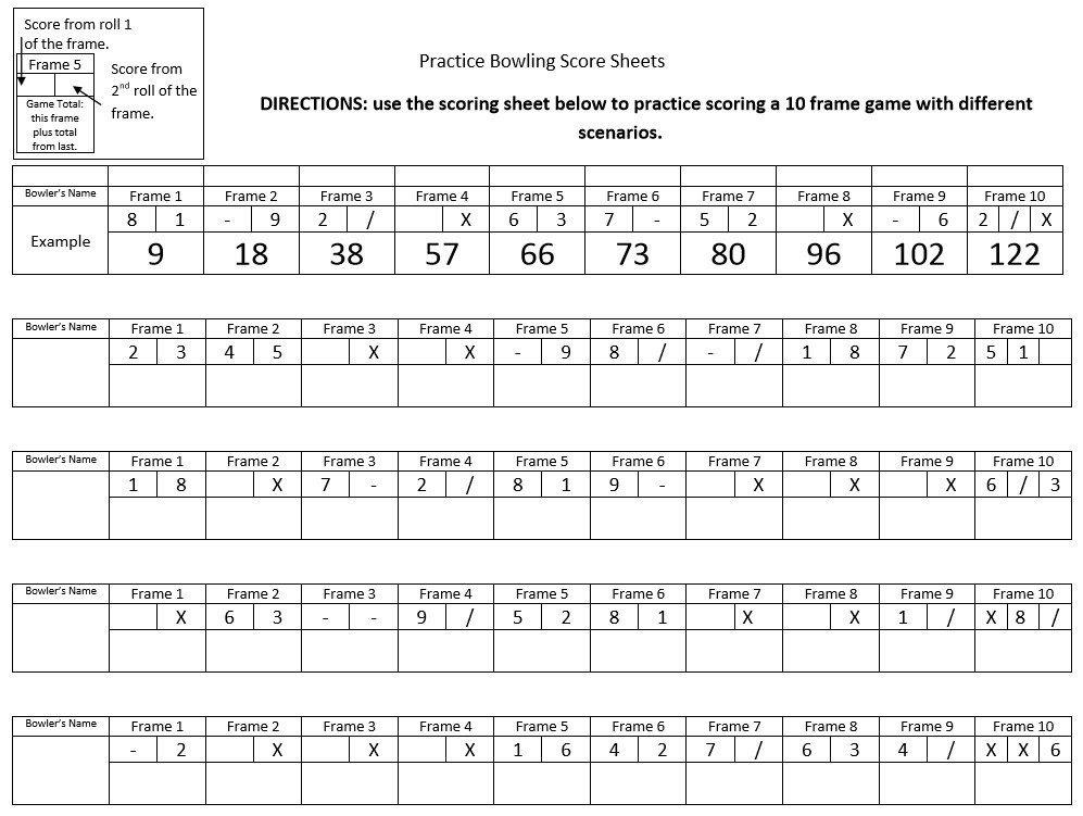 Bowling Score Sheet Excel Simple Printable Bowling Score Sheet with Pins Excel