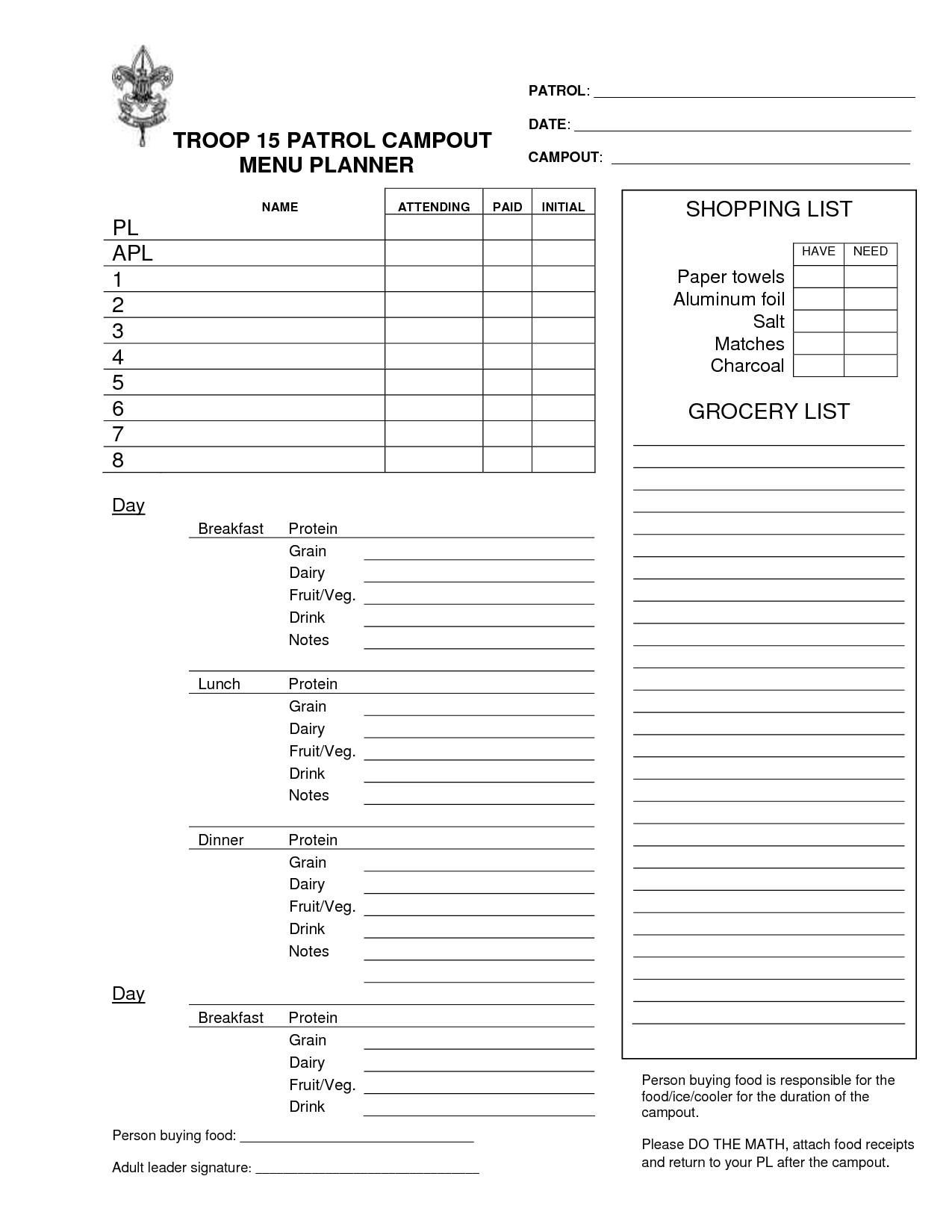 Boy Scout Meal Planning Template 10 Best Of Menu Planning Worksheet Pdf Diet Meal
