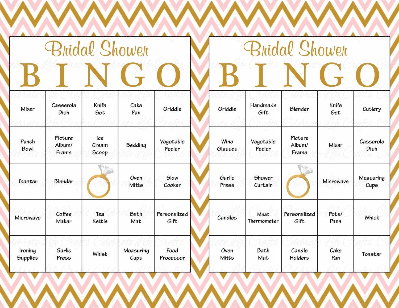 Bridal Bingo Free Template Blank 100 Bridal Bingo Cards Blank & 100 Prefilled Cards