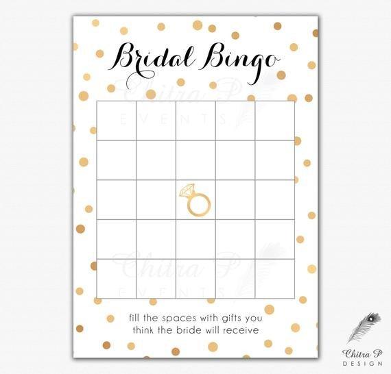 Bridal Bingo Free Template Blank Black & Gold Bridal Shower Bingo Cards Printed or Printable