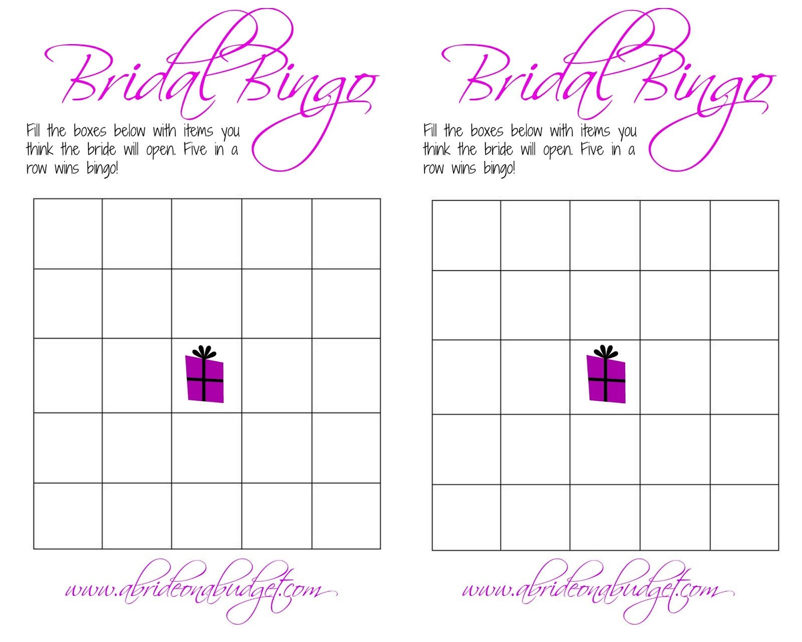 Bridal Bingo And a free printable