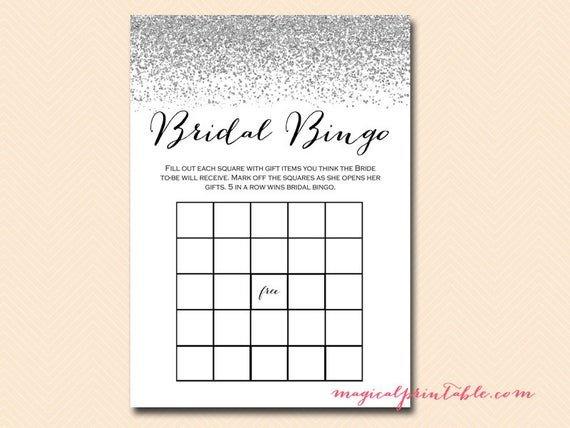 Bridal Bingo Free Template Blank Bridal Bingo Cards Blank Bingo T Item Bingo Silver