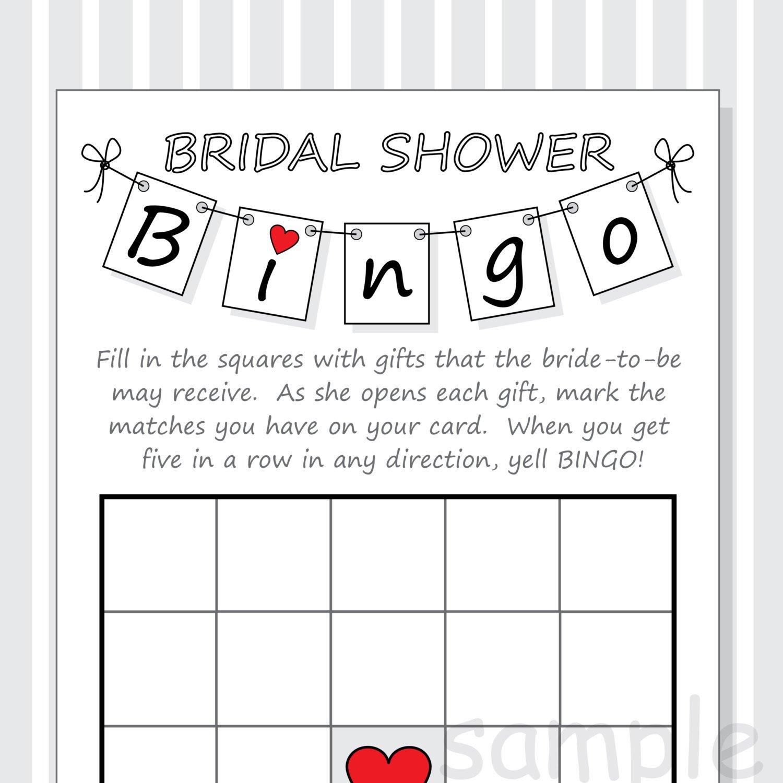 Bridal Bingo Free Template Blank Diy Bridal Shower Bingo Printable Cards Pennant Design Red