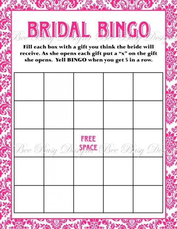 Bridal Bingo Free Template Blank Printable Hot Pink Damask Bridal Shower Bingo Game
