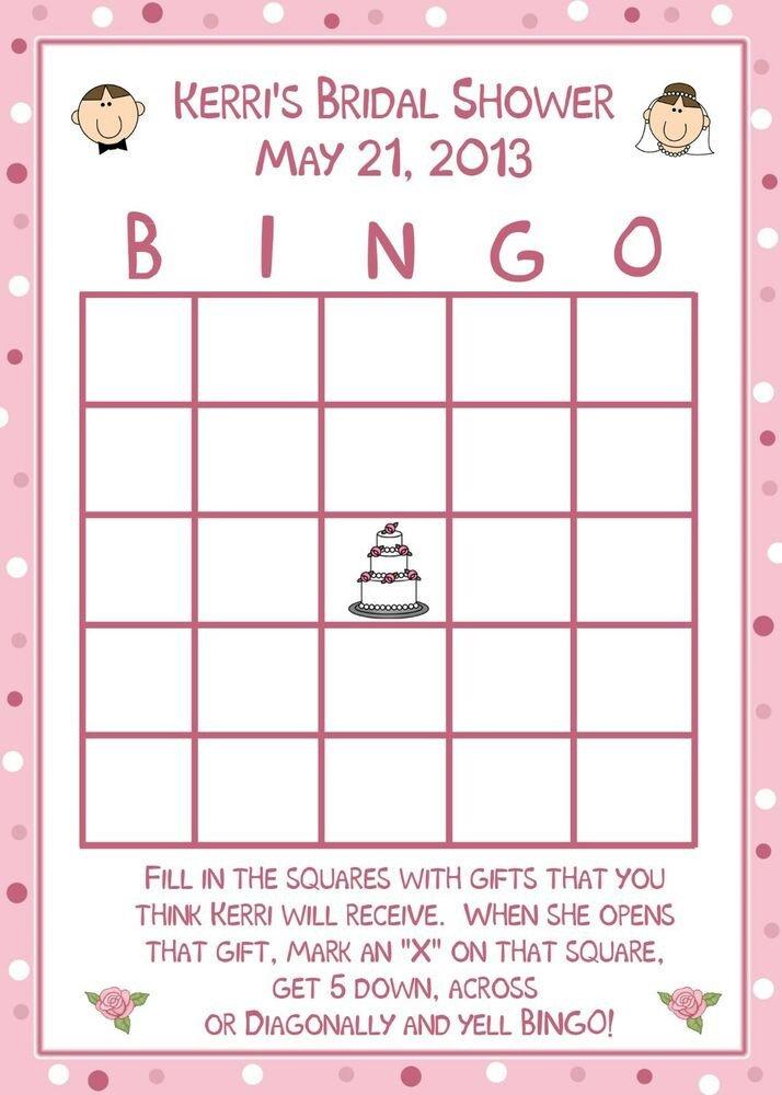 Bridal Shower Bingo Template 24 Personalized Bridal Shower Bingo Cards Happy Couple