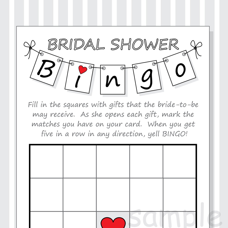DIY Bridal Shower Bingo Printable Cards Pennant Design Red