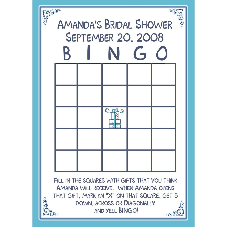 Bridal Shower Bingo Templates 24 Bridal Shower Bingo Card Game Personalized