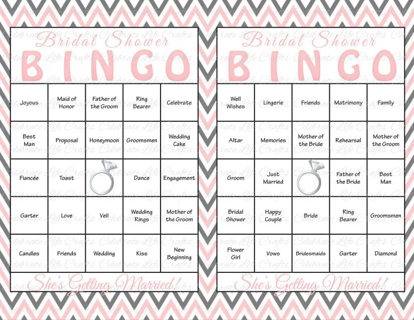 Bridal Shower Bingo Templates 60 Bridal Shower Bingo Cards Diy Printable by