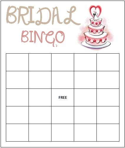 Bridal Shower Bingo Templates Bridal Bingo Template