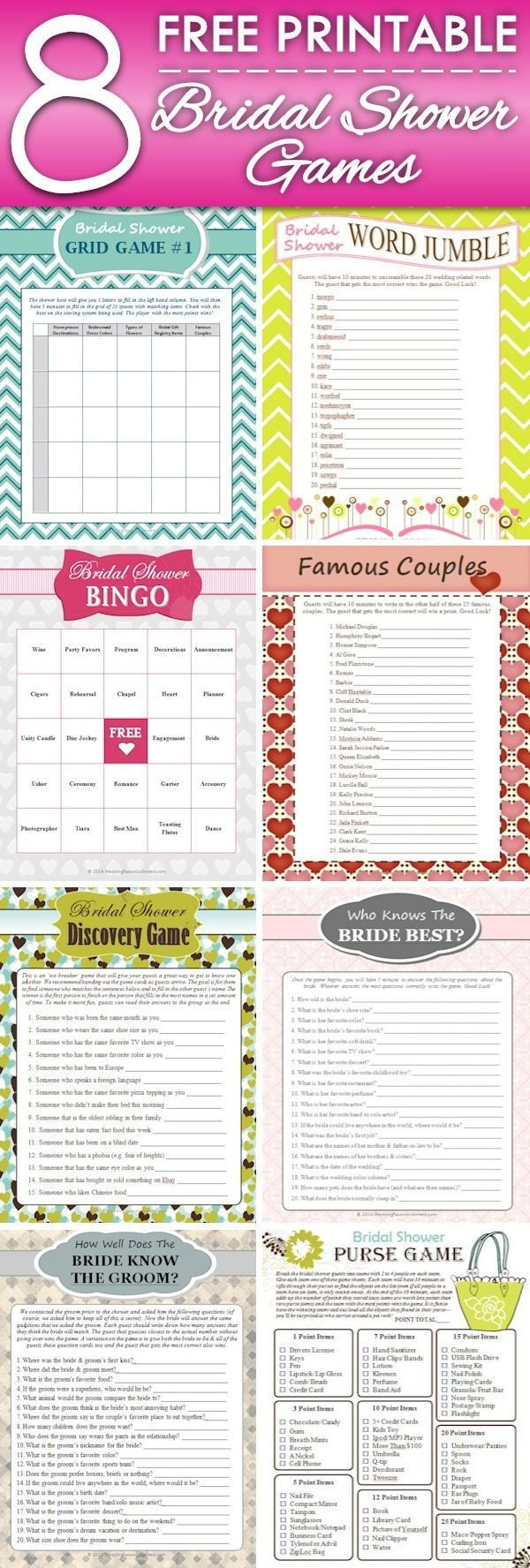 Bridal Shower Checklist Printable 8 Free Printable Bridal Shower Games some Fun