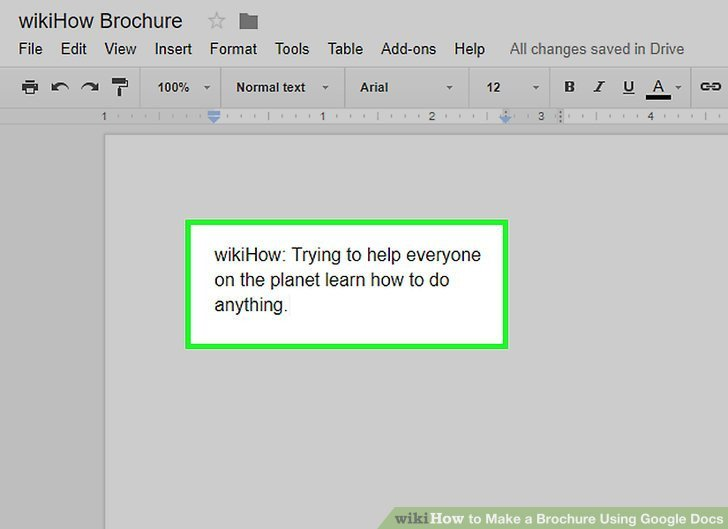 Brochure Templates for Google Docs How to Make A Brochure Using Google Docs Wikihow