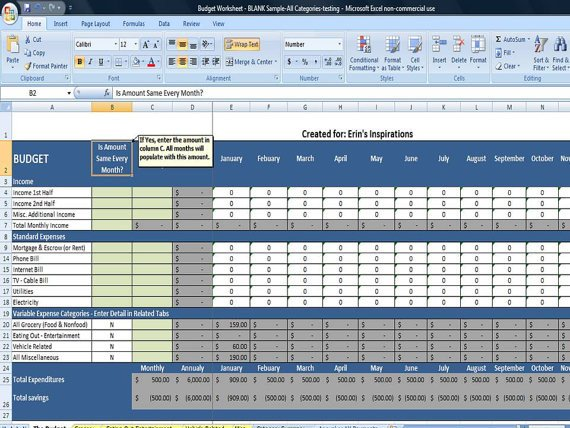 Budget Templates for Excel Bud Worksheet In Excel Instant Download by