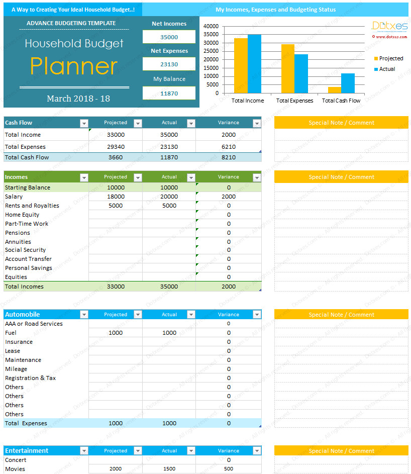 Budget Templates for Excel Home Bud Template for Excel Dotxes