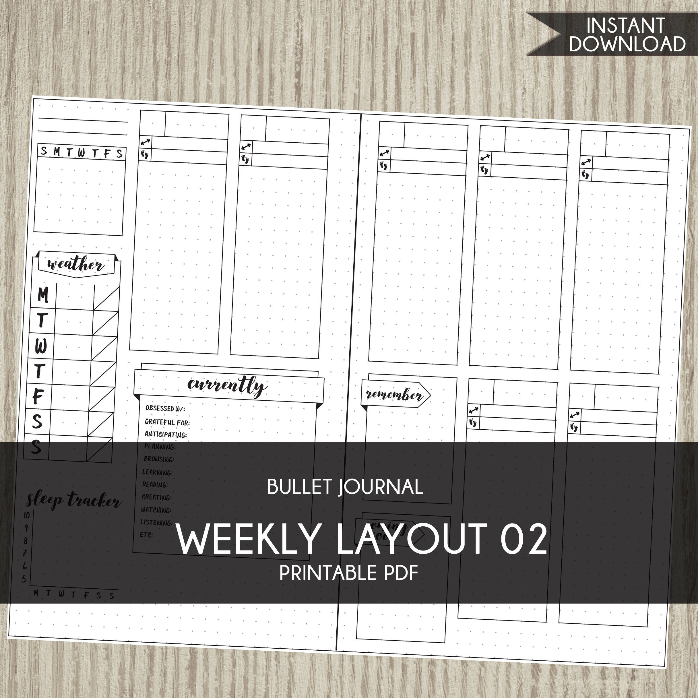 Bullet Journal Layout Templates Bullet Journal Template Printable Planner Weekly Layout Bujo