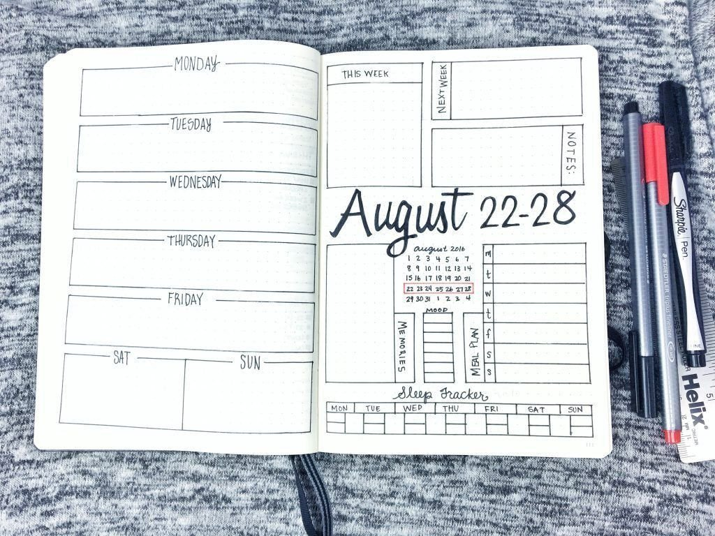 Bullet Journal Layout Templates Bullet Journal Weekly Layout August 22 28 2016 Spread