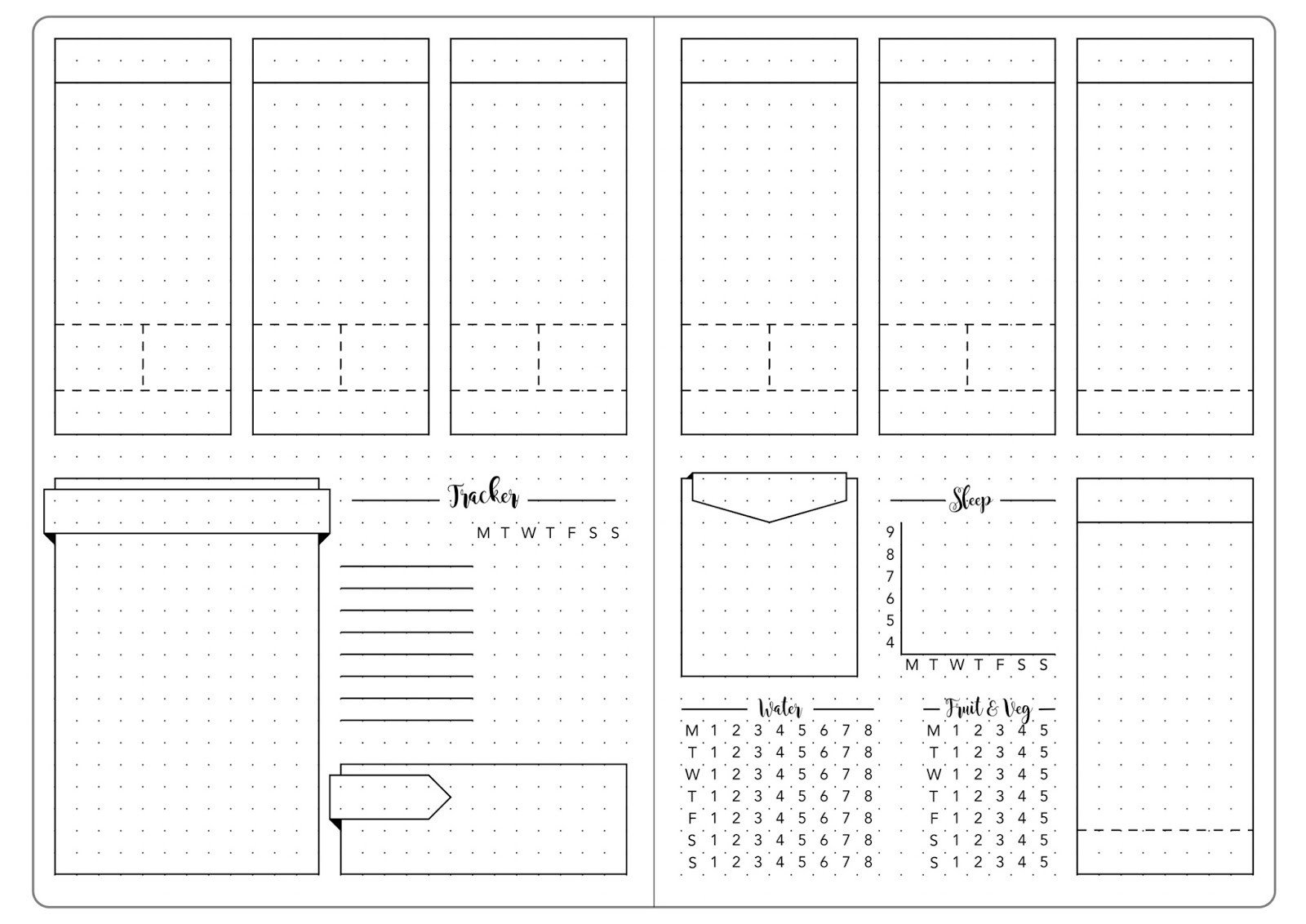 Bullet Journal Layout Templates Detailed Weekly Set Up & Template Kate Louise