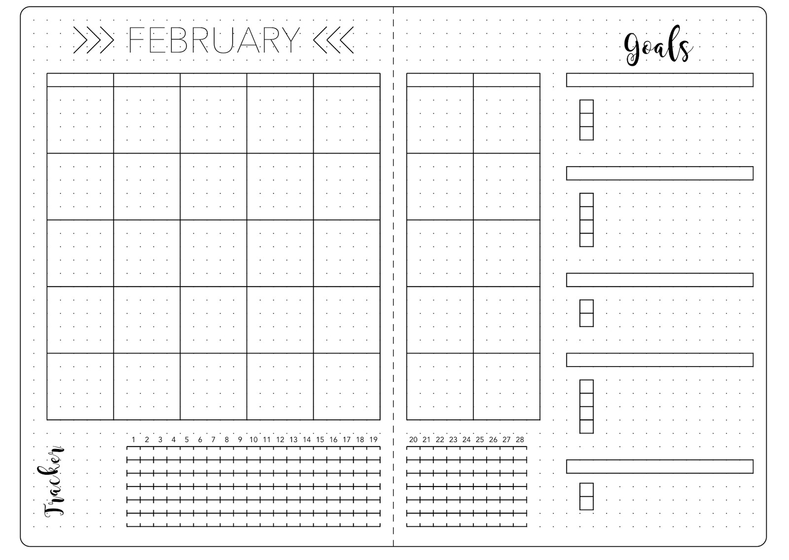 Bullet Journal Layout Templates February Set Up & Template Kate Louise