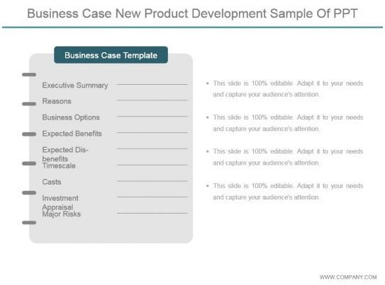 Business Case Template Ppt Business Case New Product Development Sample Ppt