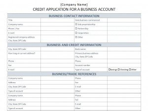 Business Credit Application Template Business Credit Application Template Word Templates