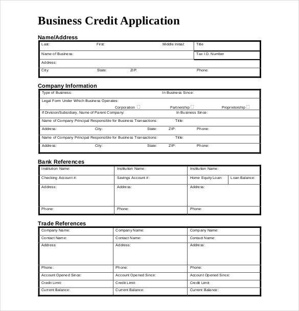 Credit Application Template – 13 Free Word PDF Documents
