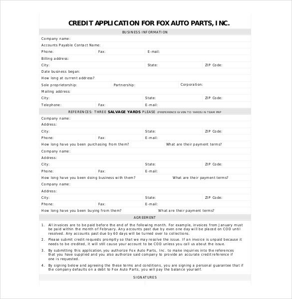 Business Credit Application Template Credit Application Template 33 Examples In Pdf Word