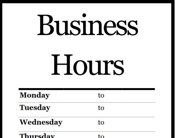 Business Hours Template Microsoft Word Best 25 Business Hours Sign Ideas On Pinterest