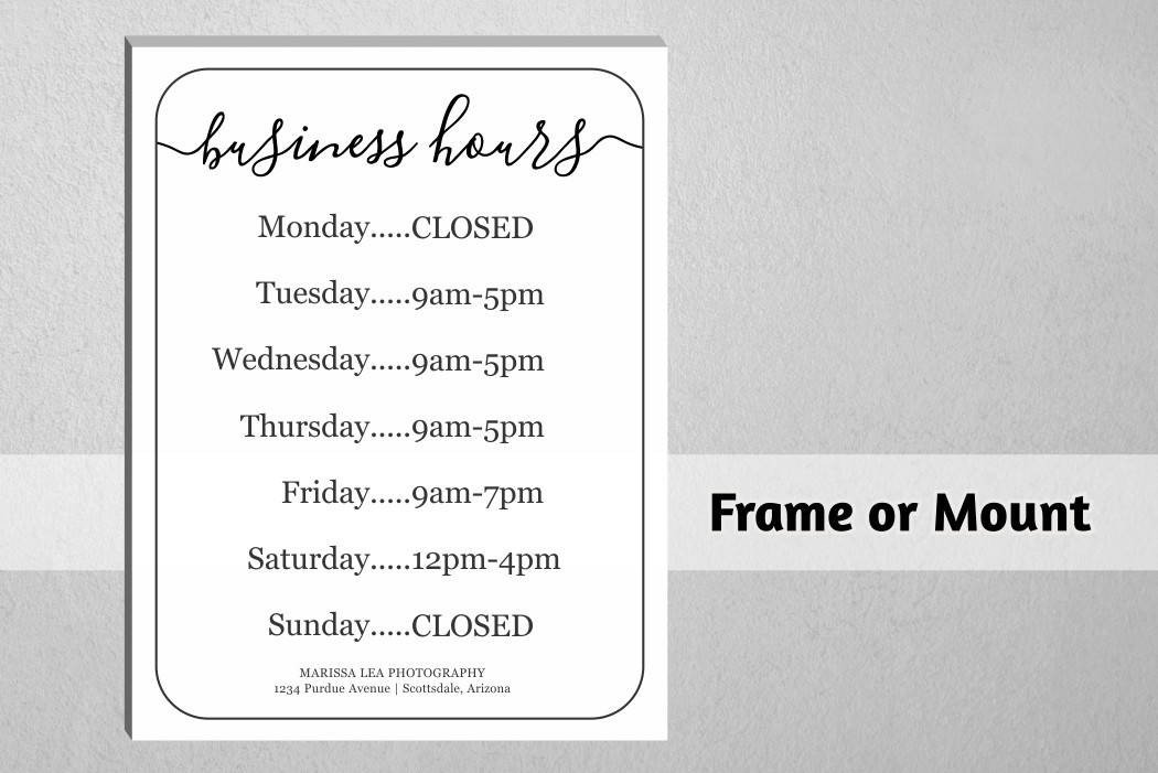 Business Hours Template Microsoft Word Business Hours Sign Printable Template Hours Of