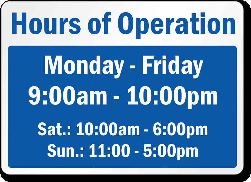 Business Hours Template Microsoft Word Business Hours Signs