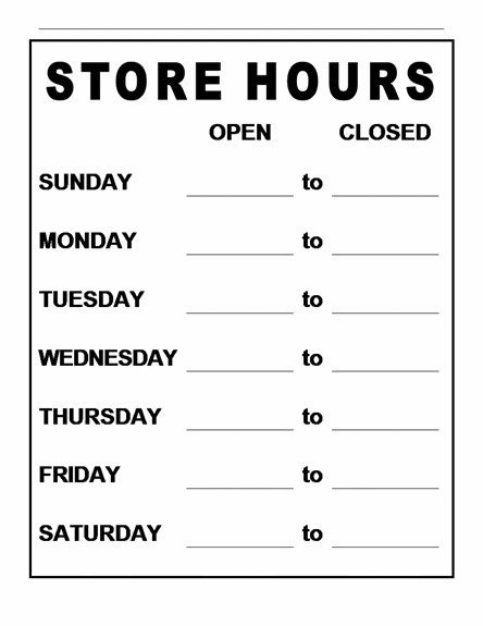 Business Hours Template Microsoft Word Business Hours Template Word – Business Hours Template