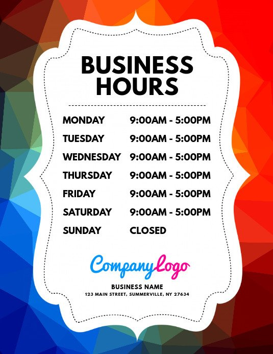 Business Hours Template Microsoft Word Copy Of Business Hours Flyer