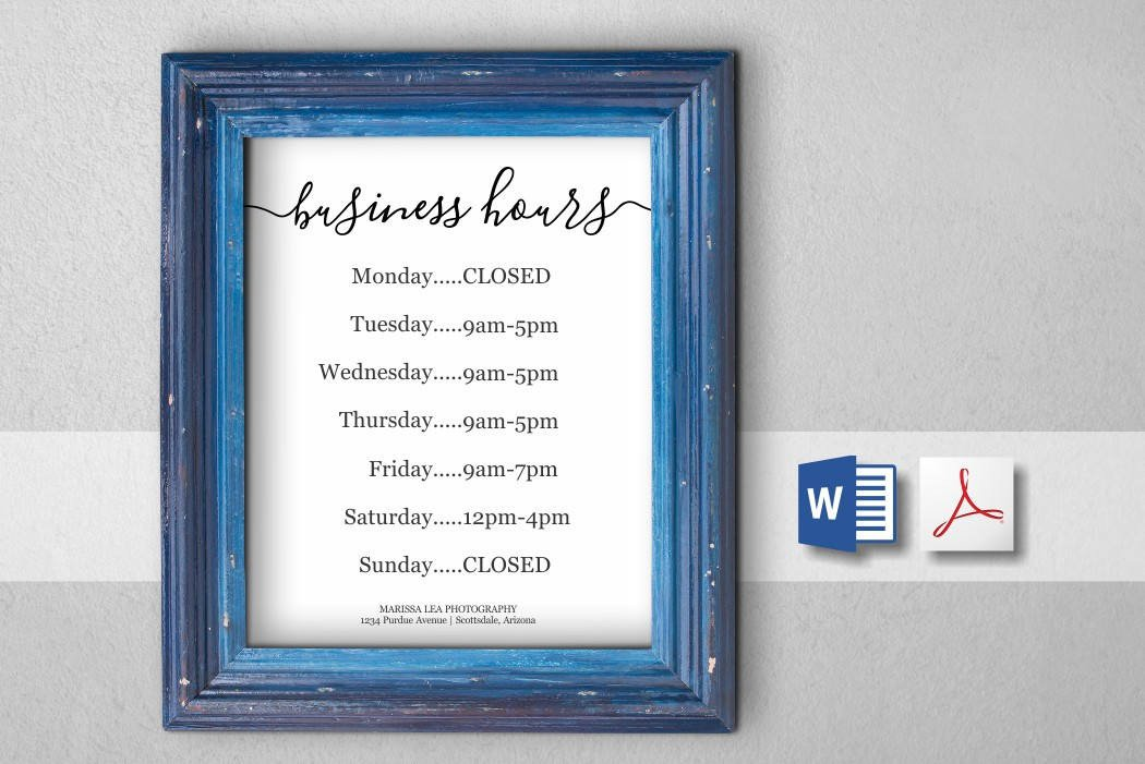 Business Hours Template Microsoft Word Printable Business Hours Template Holiday Hours Sign
