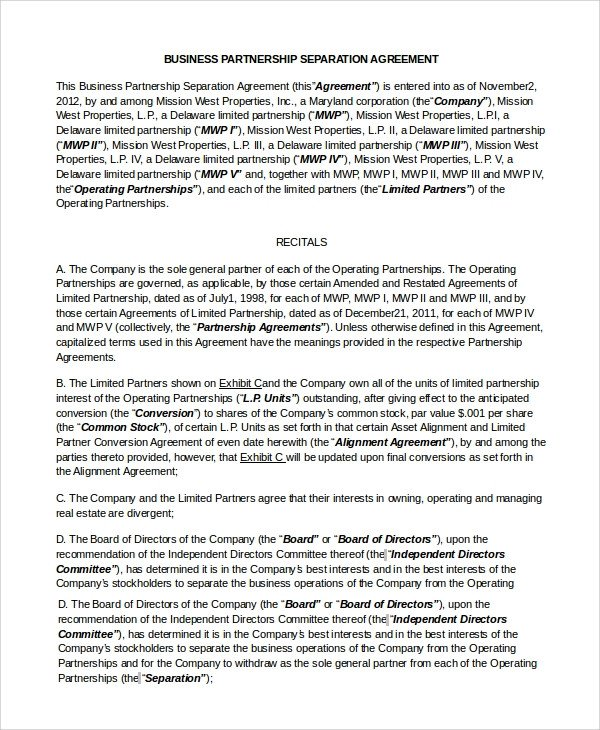 Business Partnership Separation Agreement Template 7 Sample Business Partnership Agreements Pdf Doc
