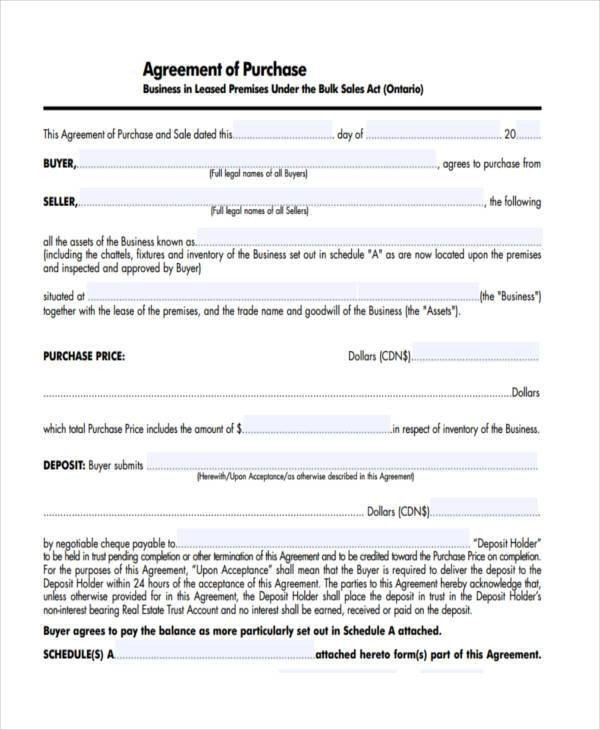Business Purchase Agreement Template 7 Business Purchase Agreement form Samples Free Sample
