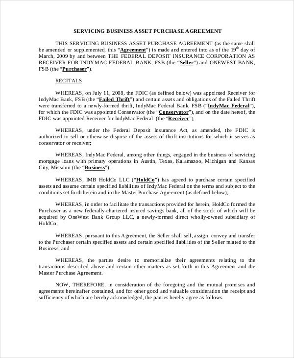 Business Purchase Agreement Template asset Purchase Agreement 11 Free Word Pdf Documents