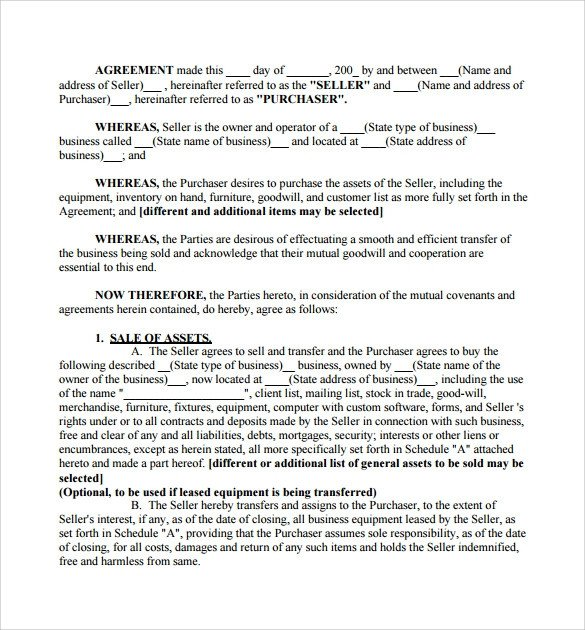 Business Purchase Agreement Template Business Purchase Agreement 7 Documents Download In Pdf