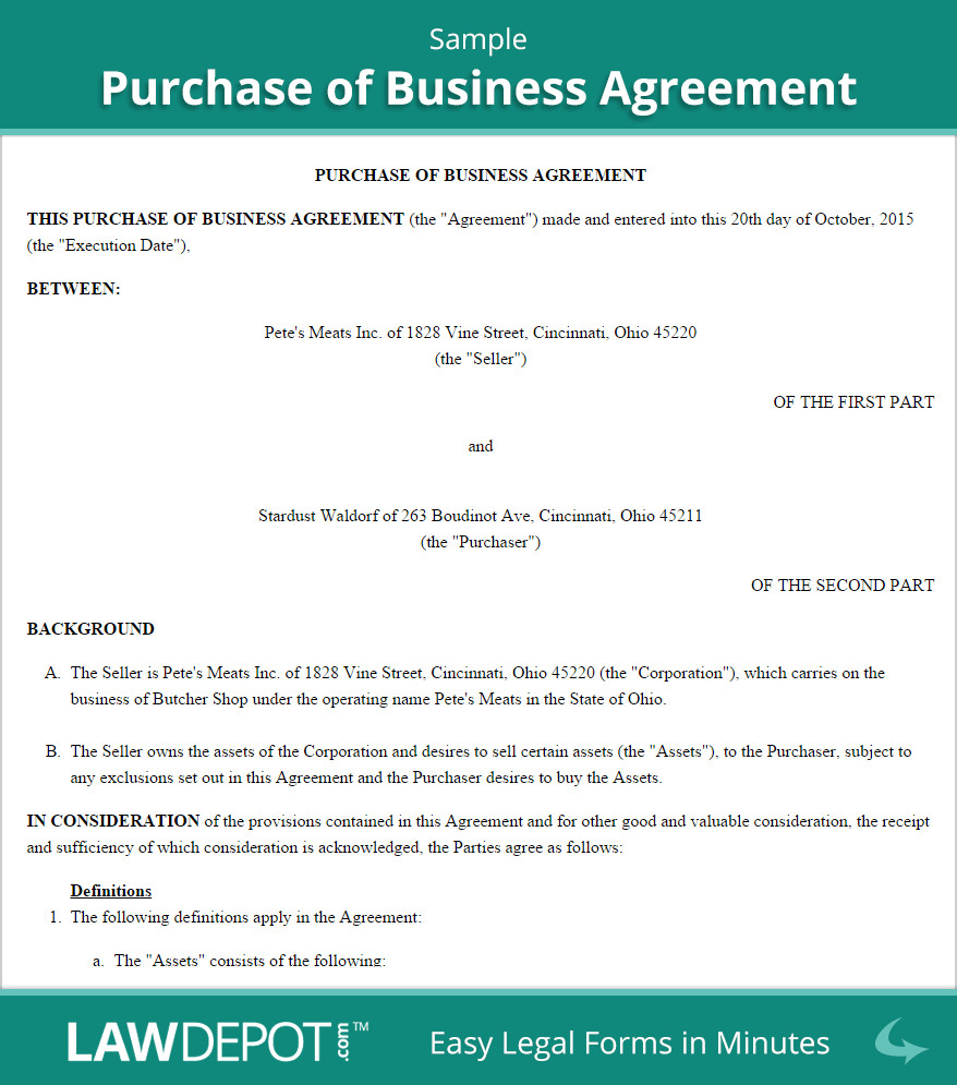 Business Purchase Agreement Template Free Purchase Of Business Agreement Create Download