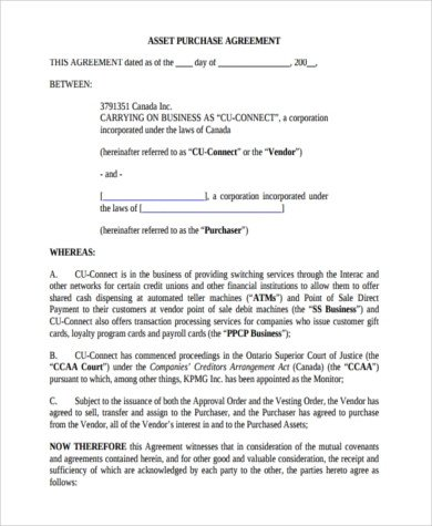 Business Purchase Agreement Template Sample Business Purchase Agreements 8 Free Documents In