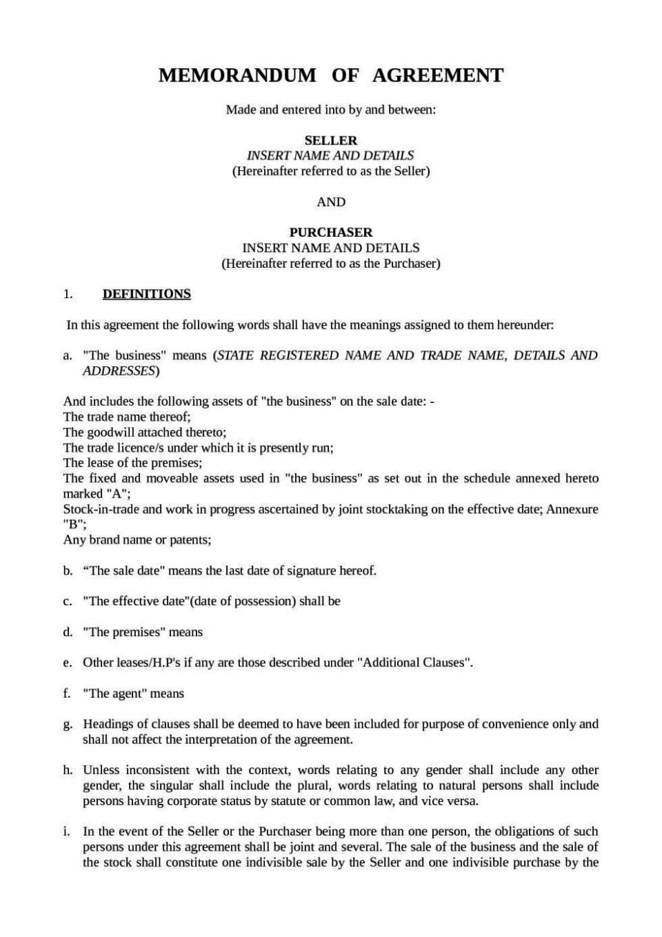 Business Purchase Agreement Template Small Business Purchase Agreement Template