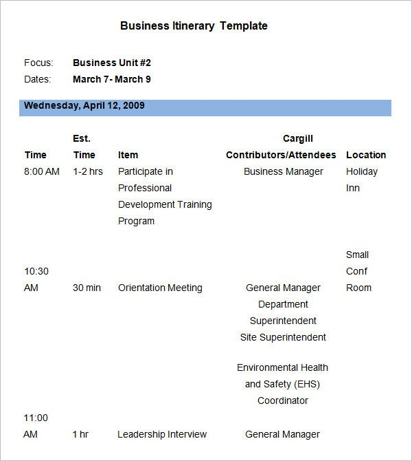Business Travel Itinerary Template 9 Business Itinerary Template Doc Pdf Excel