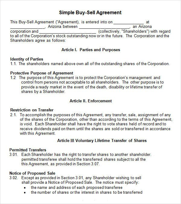 20 Sample Buy Sell Agreement Templates Word PDF Pages