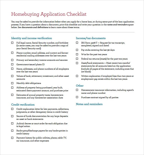 Buying A House Checklist Template Home Buying Checklist 11 Documents In Pdf Word